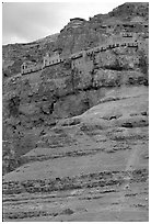 Monastery perched on the side of a steep clif. West Bank, Occupied Territories (Israel) ( black and white)