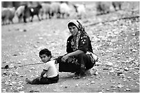 Bedouin woman and child, Judean Desert. West Bank, Occupied Territories (Israel) ( black and white)