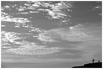 Clouds and Ibex, Maktesh Ramon (Wadi Ruman) Crater. Negev Desert, Israel (black and white)