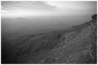 Maktesh Ramon (Wadi Ruman) Crater, sunrise. Negev Desert, Israel (black and white)