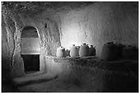 Jars in underground chamber, Avdat. Negev Desert, Israel (black and white)