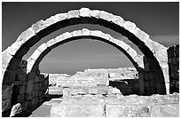 Arches in Nabatean ruins, Avdat. Negev Desert, Israel (black and white)