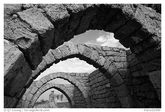 Ancient arches, Crusader City,  Caesarea. Israel (black and white)