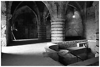 Medieval room of the Knights Hospitalliers quarters, Akko (Acre). Israel (black and white)