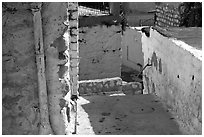 Walls and alley in the old city of Safed (Tzfat). Israel (black and white)
