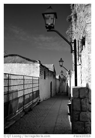 Alley with lanterns, Synagogue Quarter, Safed (Safad). Israel (black and white)