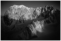East Face of Mont-Blanc and Mt Maudit, early morning, Italy and France. (black and white)