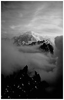 Mont Blanc and approaching storm clouds seen from Les Drus. Alps, France (black and white)