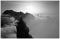 On the very narrow top of Dent du Geant, Mont-Blanc Range, Alps, France. (black and white)