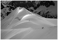 Alpinists on the Aiguille du Midi ridge. Alps, France (black and white)