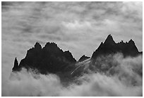 Grands Charmoz and Grepon. Alps, France (black and white)