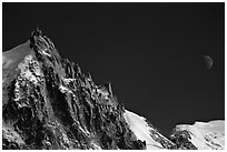 Aiguille du Midi and moon. Alps, France (black and white)
