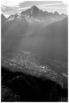 Mont Blanc range and Chamonix Valley, Alps, France. (black and white)