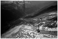 Cable car to Aiguille du Midi, Chamonix Valley in below. Alps, France (black and white)