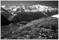 Mont Blanc range seen from the Aiguilles routes, Alps, France. (black and white)