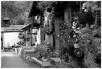 Quaint village of Le Tour, Chamonix Valley, Alps, France. (black and white)