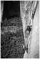 Valerio Folco leaving  the belay. El Capitan, Yosemite, California (black and white)