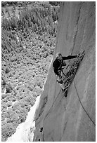 Valerio Folco takes a break from hauling bags. El Capitan, Yosemite, California (black and white)