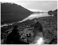 Campfire in Charpentier Inlet. Glacier Bay National Park, Alaska (black and white)