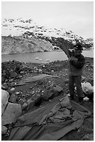 Setting up a tent in front of Lamplugh Glacier. Glacier Bay National Park, Alaska (black and white)