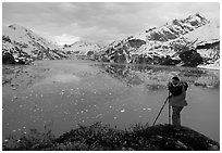 Photographing John Hopkins Inlet. Glacier Bay National Park, Alaska (black and white)