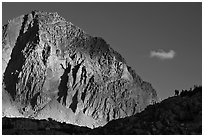 People on ridge in front of Mt Giraud. Kings Canyon National Park, California (black and white)
