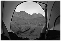 Palissades seen from inside a tent, Dusy Basin. Kings Canyon National Park, California (black and white)