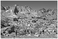 Hikers in Dusy Basin, morning. Kings Canyon National Park, California (black and white)