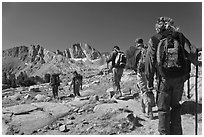 Close view of hikers, Dusy Basin. Kings Canyon National Park, California (black and white)