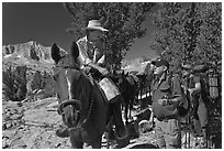 Horseman speaking with hikers, Dusy Basin. Kings Canyon National Park, California (black and white)