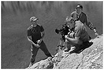 Cameramen filming near lake, lower Dusy Basin. Kings Canyon National Park, California (black and white)