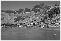 Man bathing in alpine lake, lower Dusy Basin. Kings Canyon National Park, California (black and white)