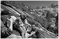 Crew filming a waterfall, lower Dusy Basin. Kings Canyon National Park, California (black and white)