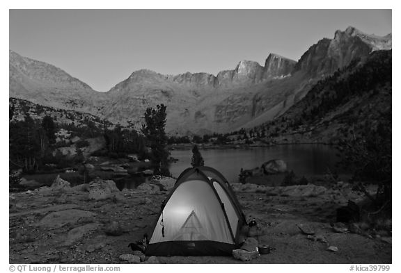 Tent with light and Palisades at dusk lower Dusy Basin. Kings Canyon National Park & Black and White Picture/photo (Camping): Tent with light and ...