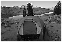 Tent and lake, dawn, Dusy Basin. Kings Canyon National Park, California (black and white)