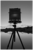 Large format camera with inverted image of mountain landscape on ground glass, Dusy Basin. Kings Canyon National Park, California (black and white)