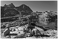 Breaking camp near lake, Dusy Basin. Kings Canyon National Park, California (black and white)