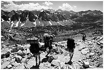 Backpackers below Kearsarge Pass. Kings Canyon National Park, California (black and white)