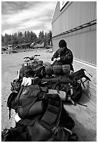 Trailer loaded with backpacking gear. Lake Clark National Park, Alaska (black and white)