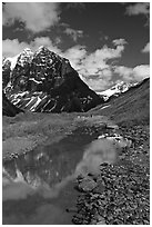 Camp below the Telaquana Mountains. Lake Clark National Park, Alaska (black and white)