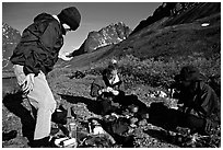 Camp breafast. Lake Clark National Park, Alaska (black and white)