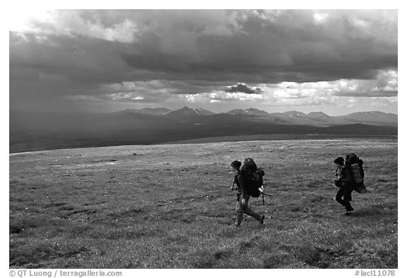 Two backpackers seen from the side walking fast in the tundra. Lake Clark National Park, Alaska