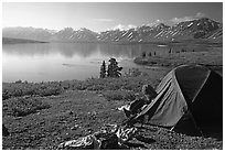 Camp above Twin Lakes. Lake Clark National Park, Alaska (black and white)