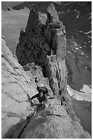 Man climbing East face of Mt Whitney. Sequoia National Park, California (black and white)