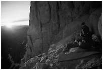 Mountaineers on a bivy on Mt Whitney at sunrise. Sequoia National Park, California (black and white)