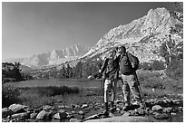Father and son at Long Lake, John Muir Wilderness. Kings Canyon National Park, California (black and white)