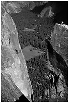 Climbers on Lost Arrow spire and Yosemite falls wall. Yosemite National Park, California (black and white)