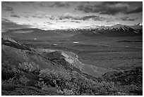 Tundra, braided rivers, Alaska Range in the evening from Polychrome Pass. Denali National Park, Alaska, USA. (black and white)