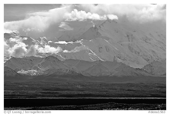Mt Mc Kinley in the clouds from Wonder Lake area. Denali National Park (black and white)