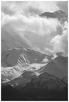Mt Mc Kinley in the clouds from Wonder Lake area. Denali National Park ( black and white)